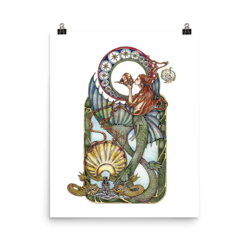 Maid of the Deep (Gold Dolphins) - Art Print