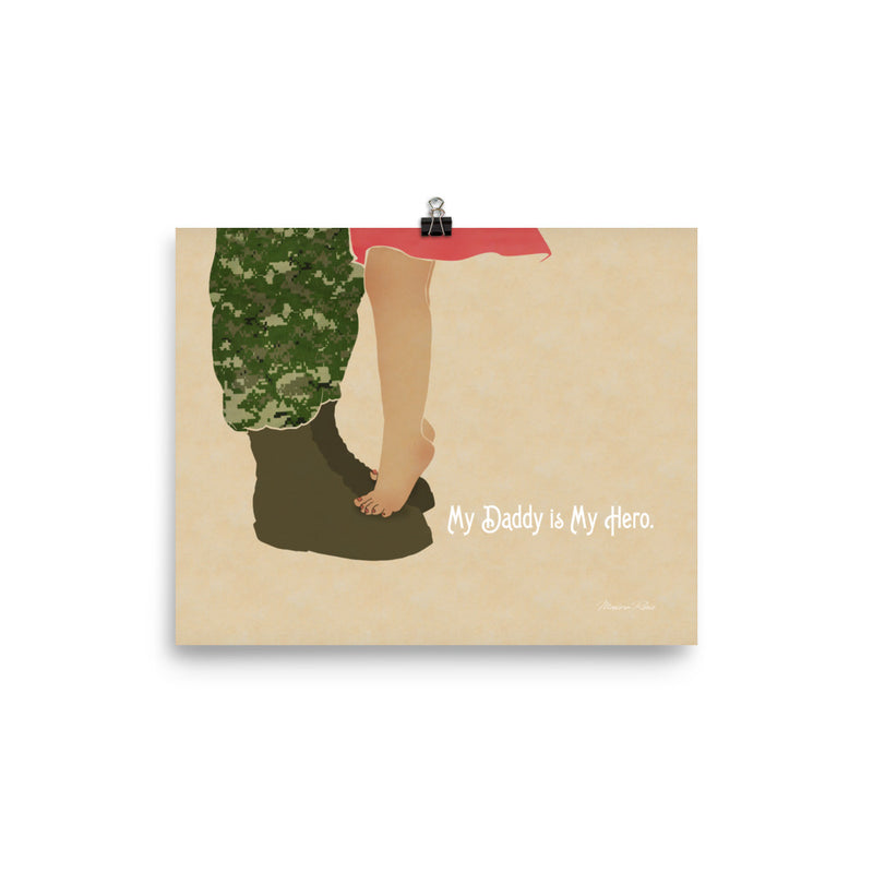 My Daddy is My Hero - Navy Daddy & Daughter Art Print