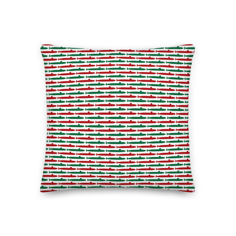 Submarine Christmas Throw Pillow