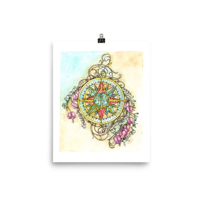 Floral Compass : Bloom Where You Are Planted - Art Print