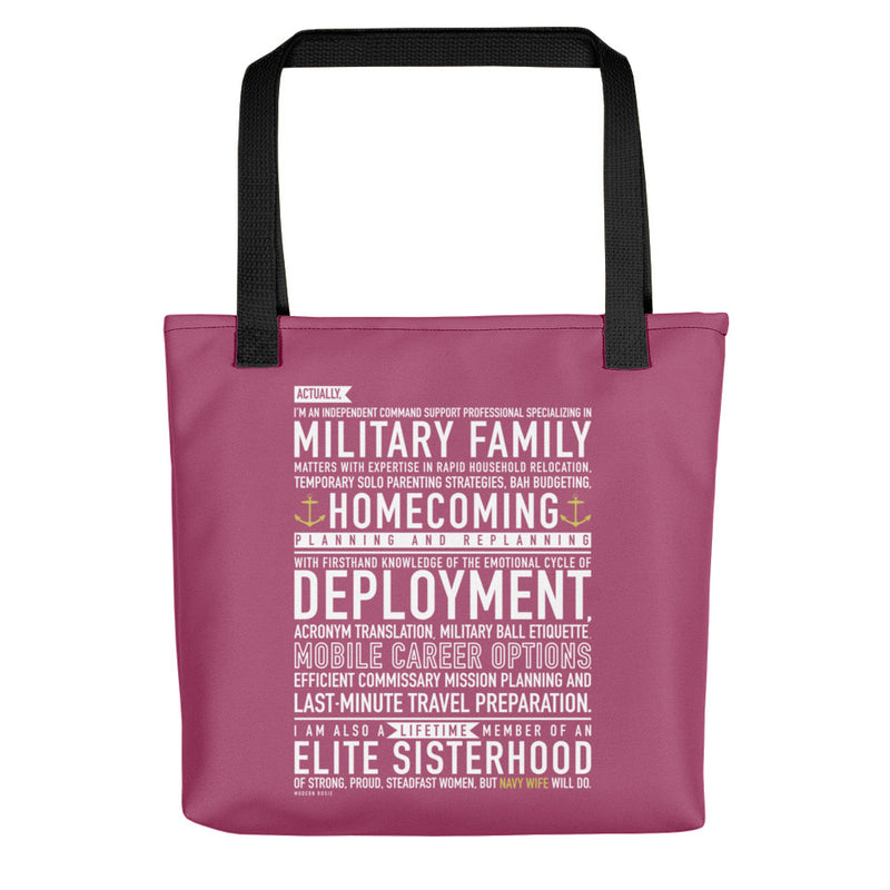 Navy Wife Will Do - Tote bag (pink)