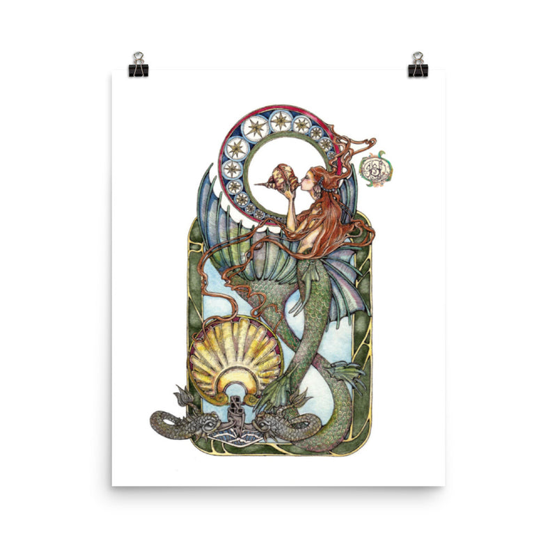 Maid of the Deep (Silver Dolphins) - Art Print