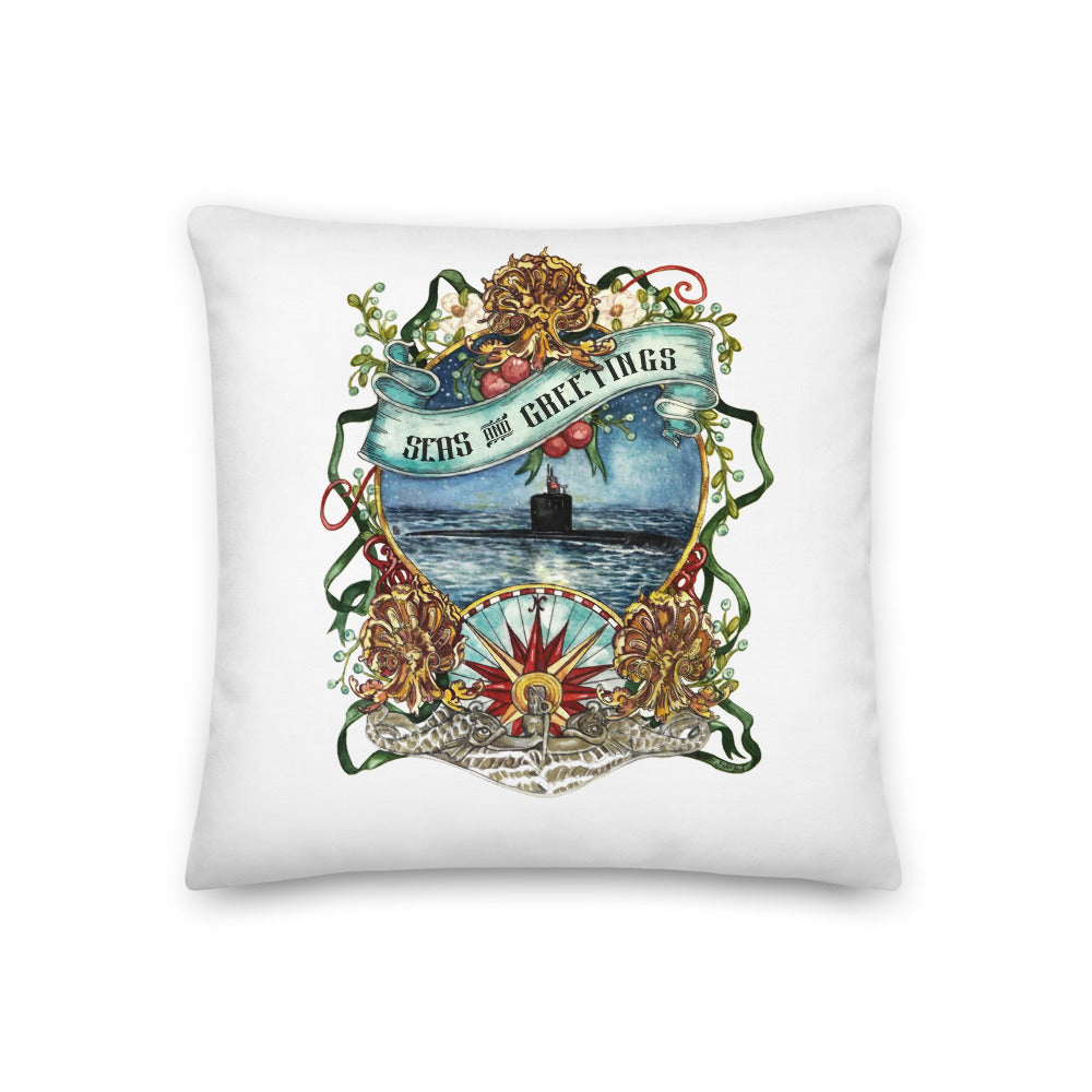Submarine Seas & Greetings (silver dolphins) Throw Pillow