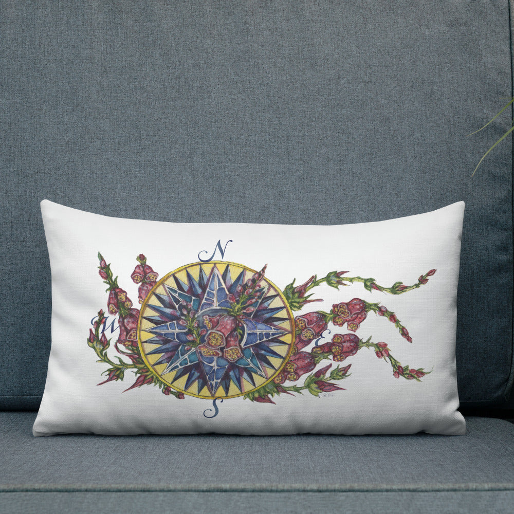 Blooming Compass: Foxglove of the Mid-Atlantic - Throw Pillow