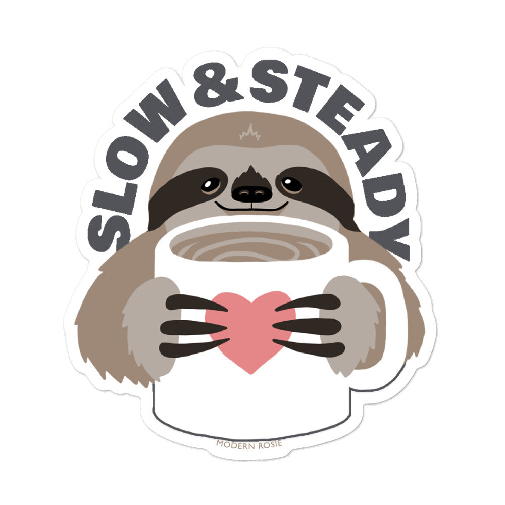 Slow and Steady - Sloth and Coffee sticker
