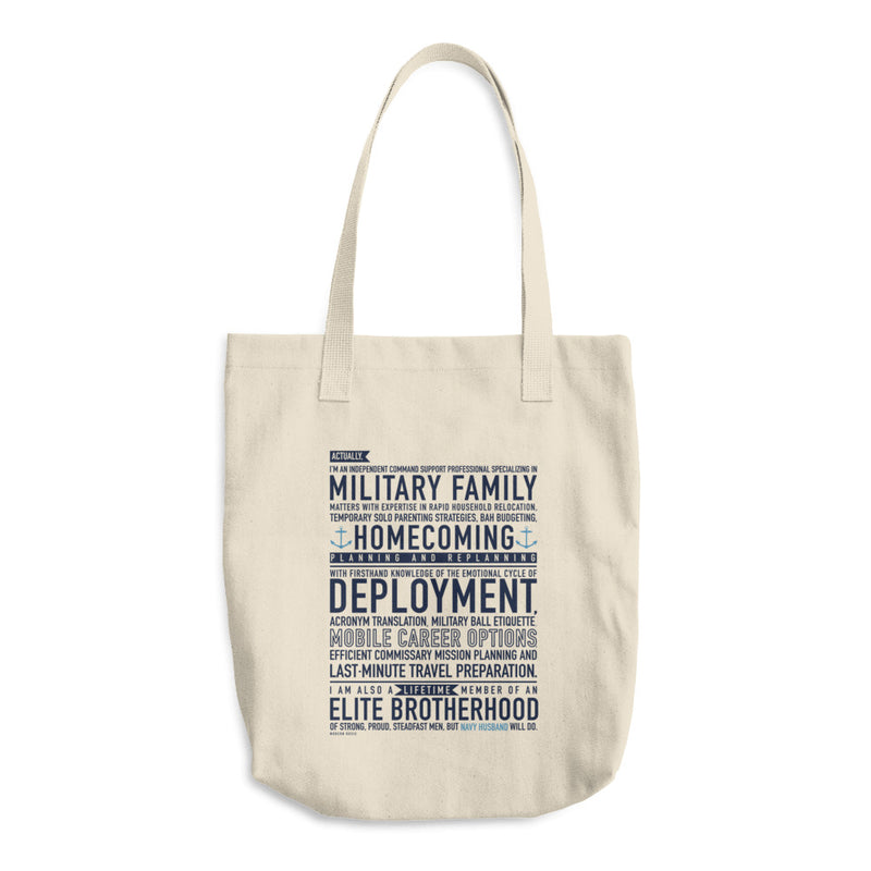 Navy Husband Will Do - Cotton Tote Bag