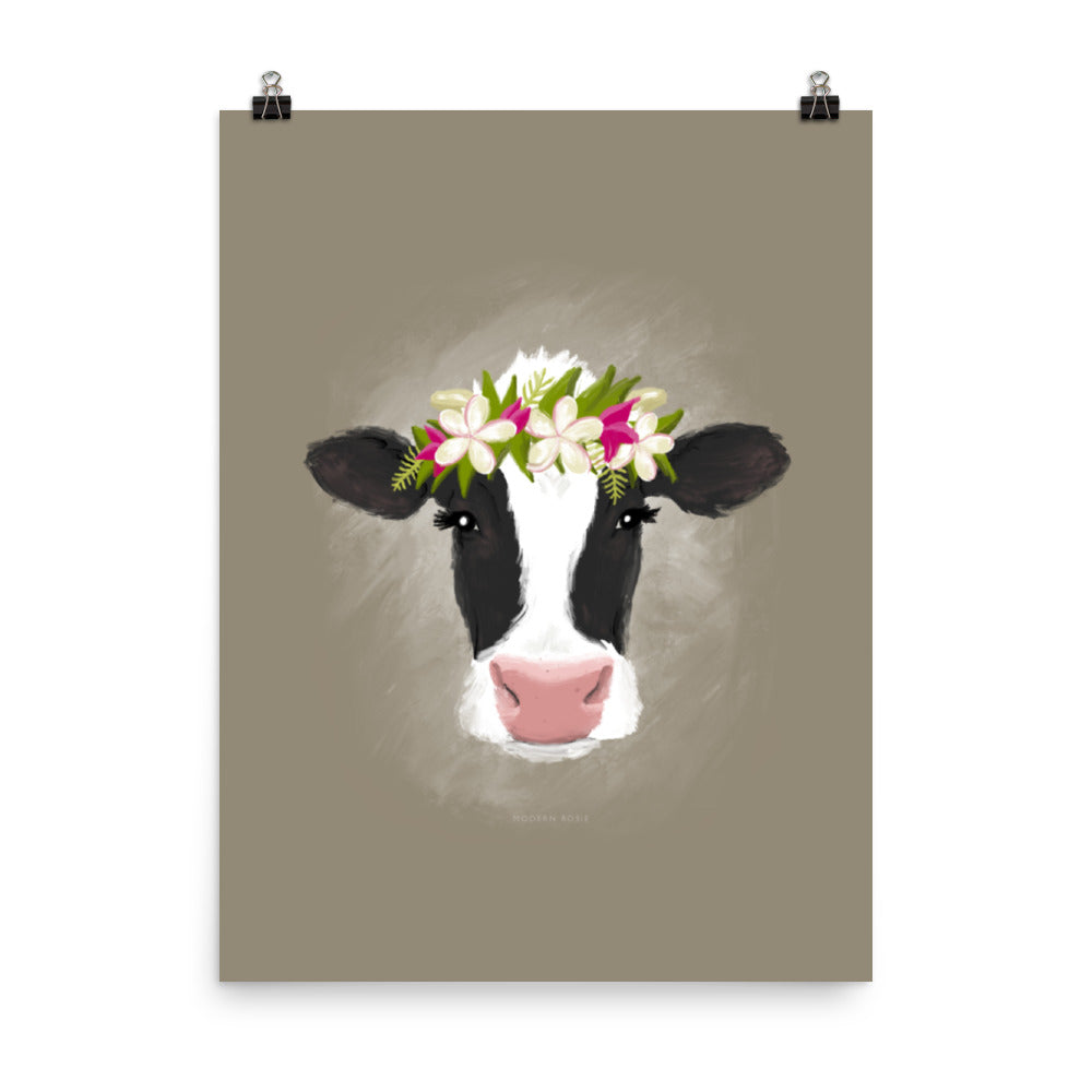 Aloha Cow (on neutral) - Art Print