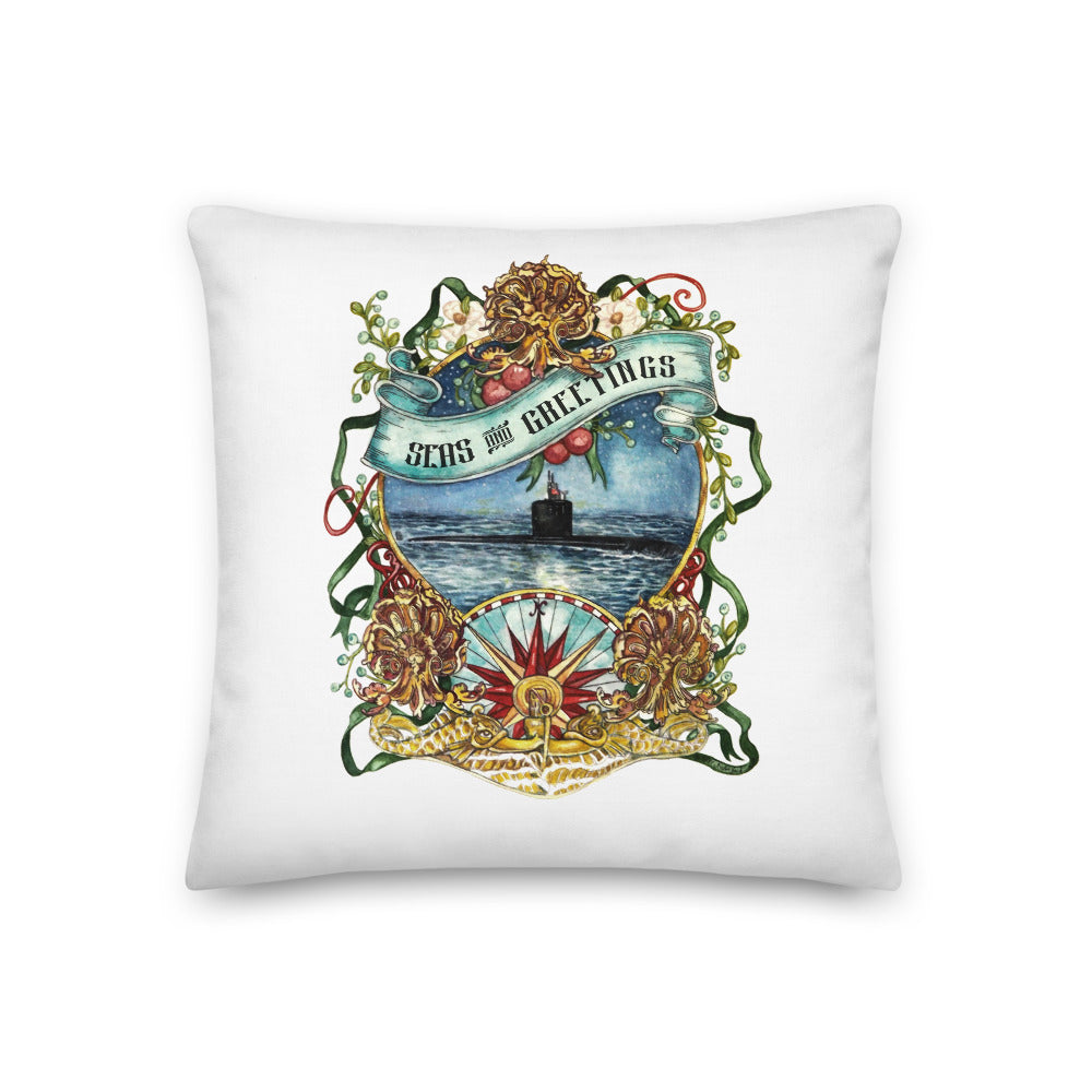 Submarine Seas & Greetings (gold dolphins) Throw Pillow
