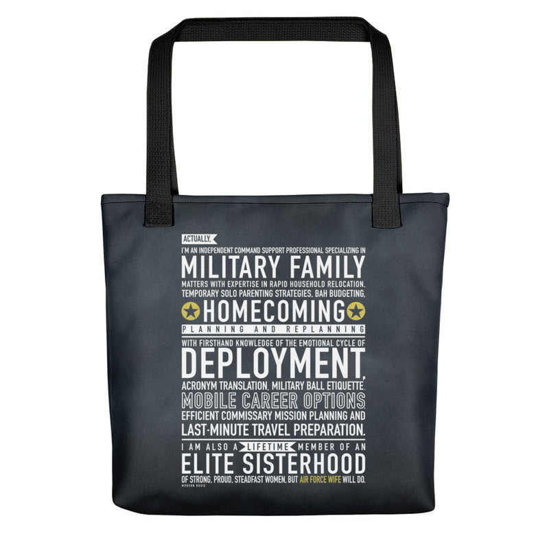 "The ""Air Force Wife Will Do"" Tote bag"
