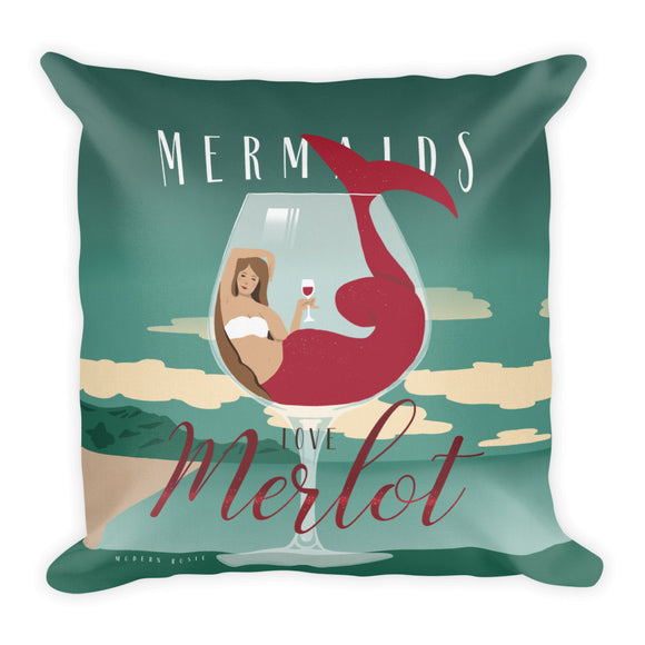 Mermaids Love Merlot Throw Pillow