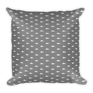 Tiny Submarines (in Gray) Throw Pillow