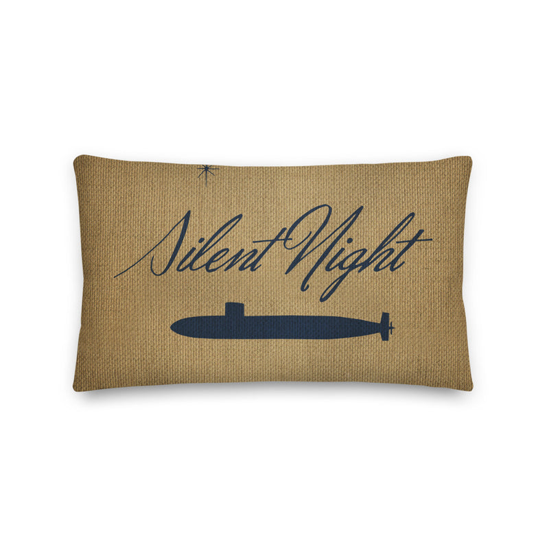 Rustic Silent Night Submarine Holiday Throw Pillow