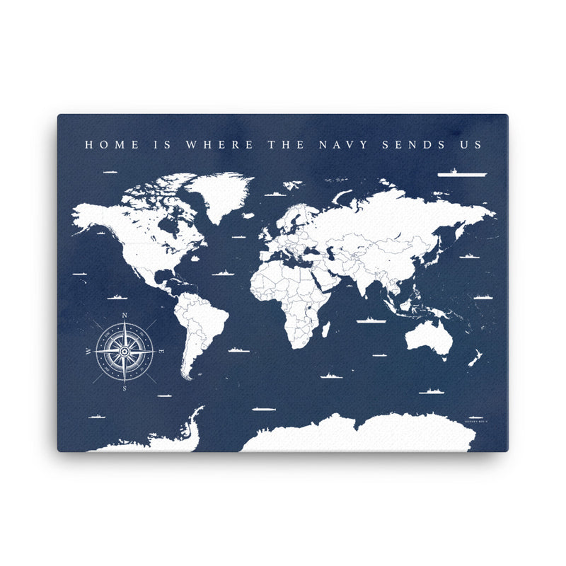 World Map: Home is Where the Navy Sends us - Vintage Blues - Art on Canvas