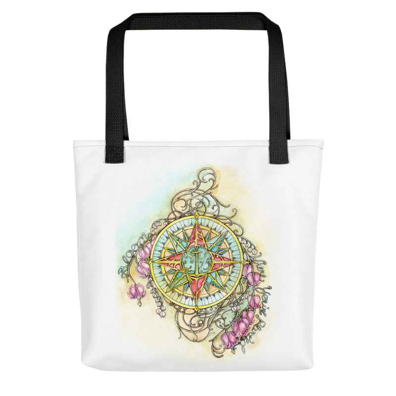 Floral Compass : Bloom Where You Are Planted - Tote bag