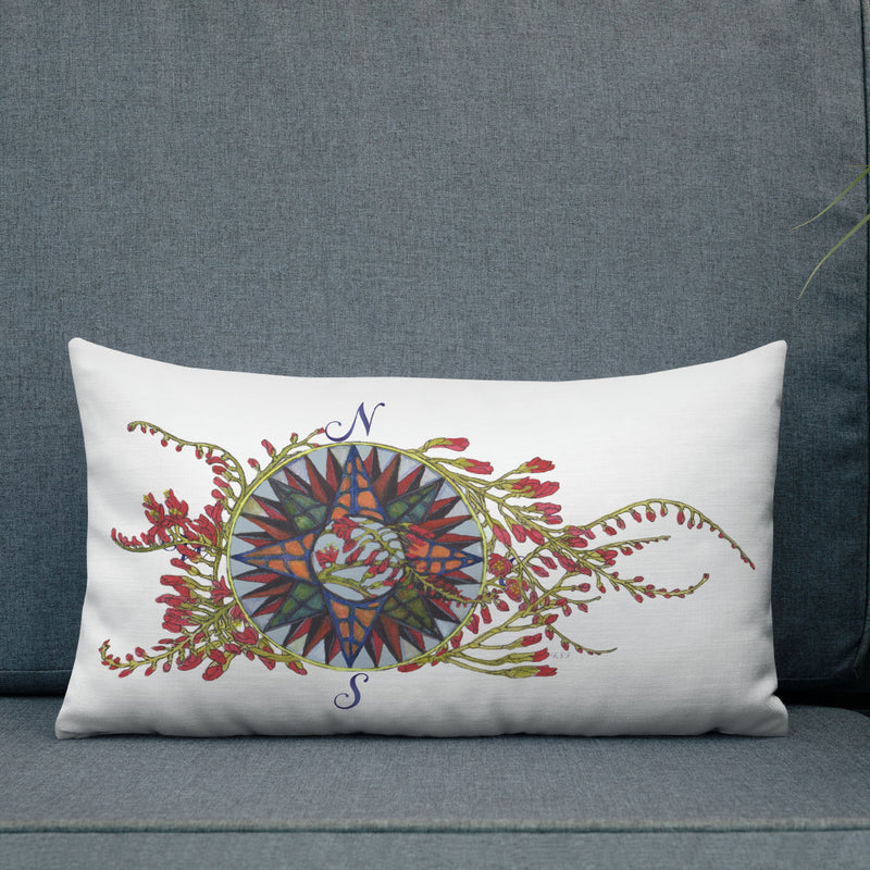 Blooming Compass: Freesia of the Pacific Islands - Throw Pillow
