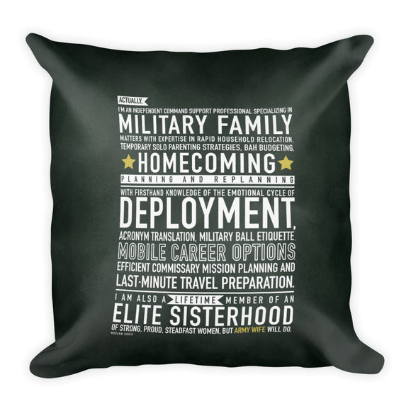 "The ""Army Wife Will"" Throw Pillow from Modern Rosie"