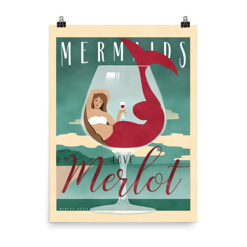 Mermaids Love Merlot - Art Print