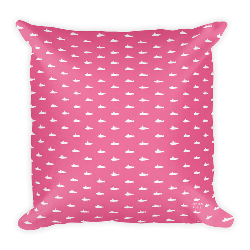Tiny Submarines (in Pink) Throw Pillow