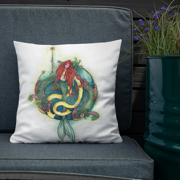Mermaid and Dolphins Throw Pillow from Modern Rosie