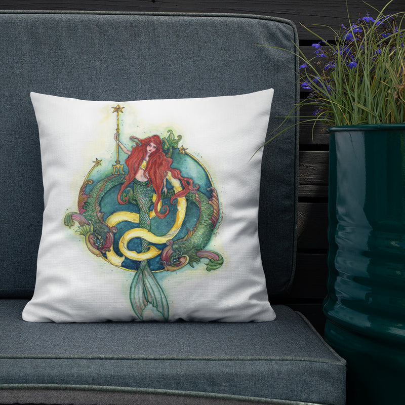 Mermaid and Dolphins Throw Pillow
