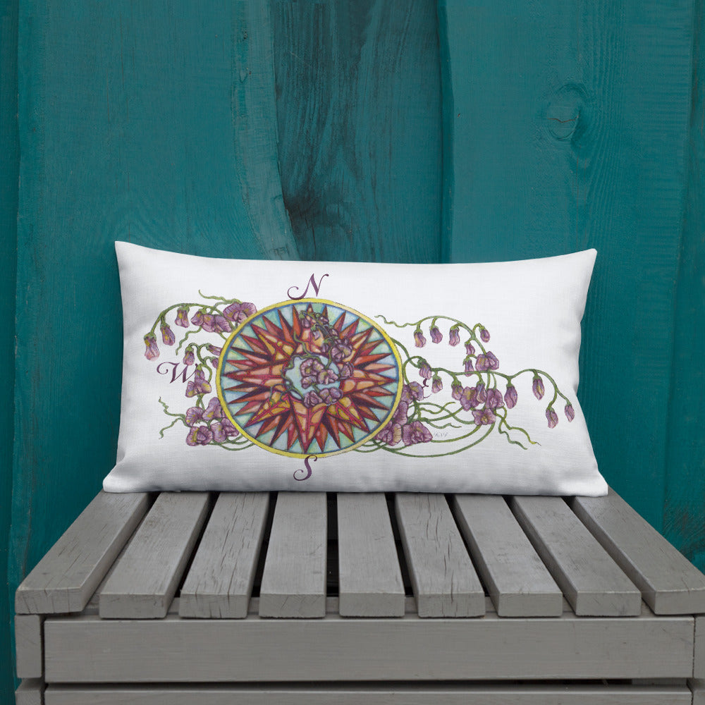 Blooming Compass: Southern Sweet Pea - Throw Pillow