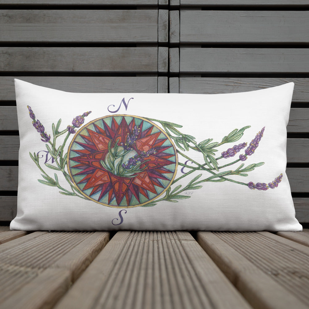 Blooming Compass: West Coast Lavender - Throw Pillow