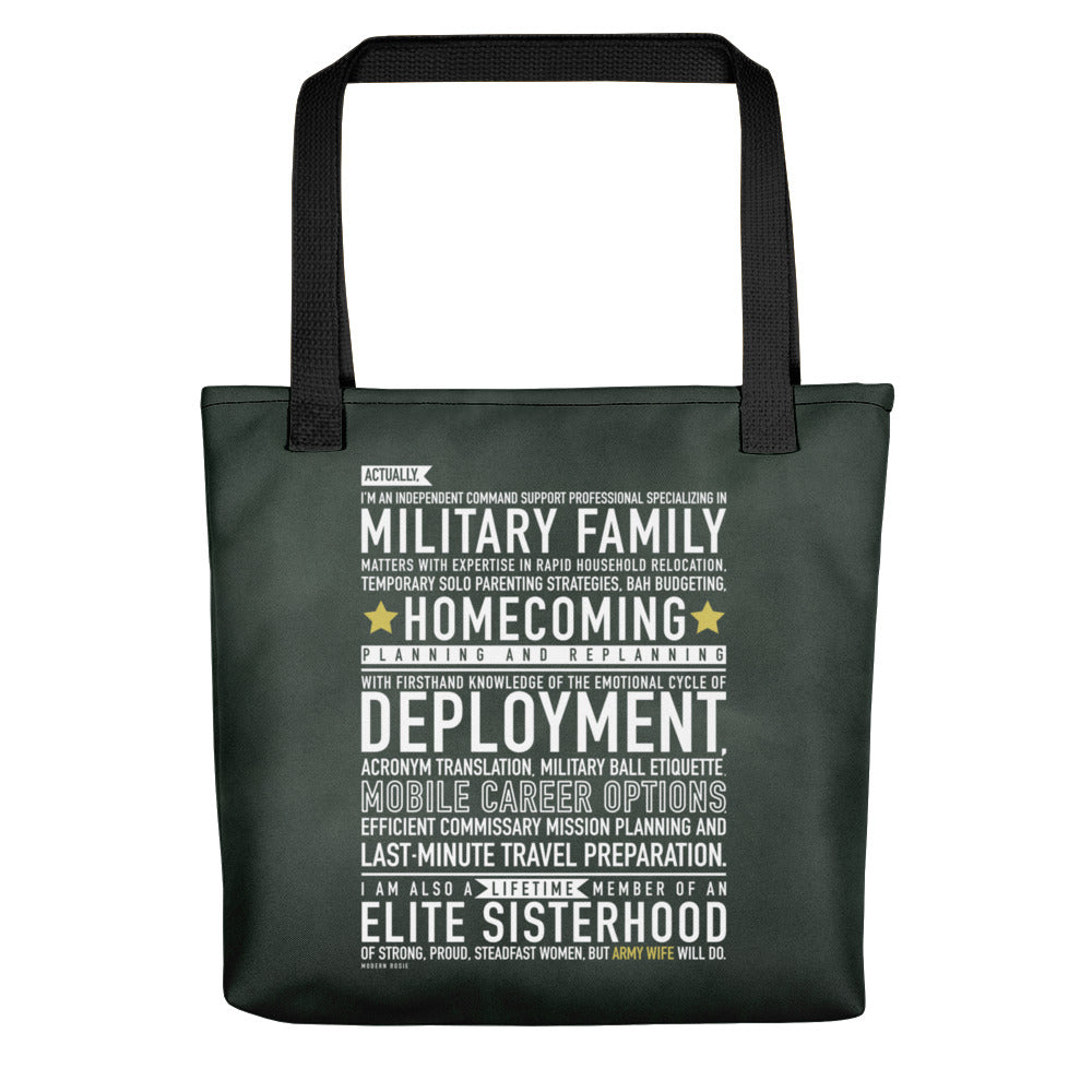 "The ""Army Wife Will Do"" Tote bag"