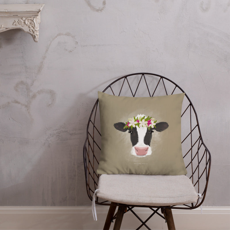 Aloha Cow Throw Pillow in Cream