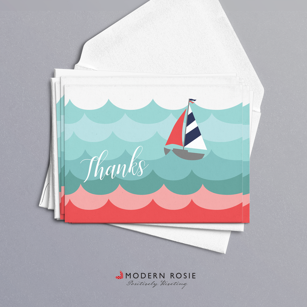 Sailboat Thanks - 4x5 Folded Card Pack