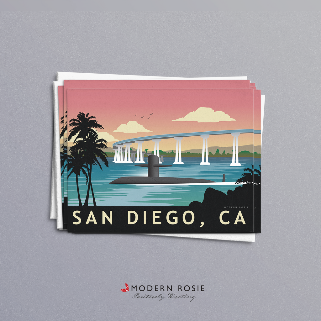 San Diego Submarine Homeport - 4x5 Folded Card Pack