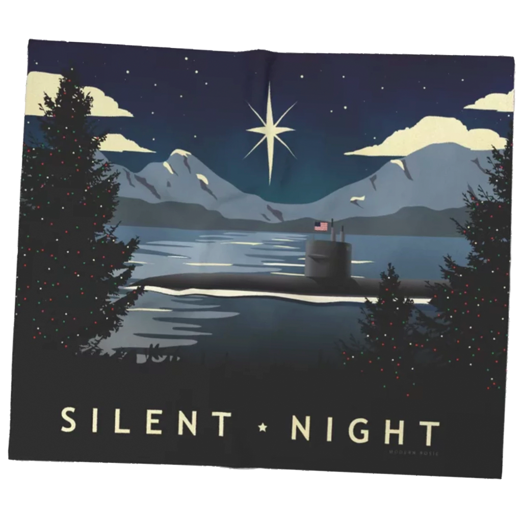 Silent Night - Christmas Submarine Super Soft Fleece Blanket
