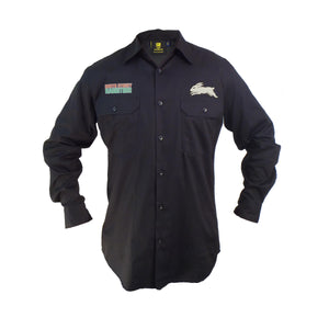 Rabbitohs Long Sleeve Work Shirt (Black)