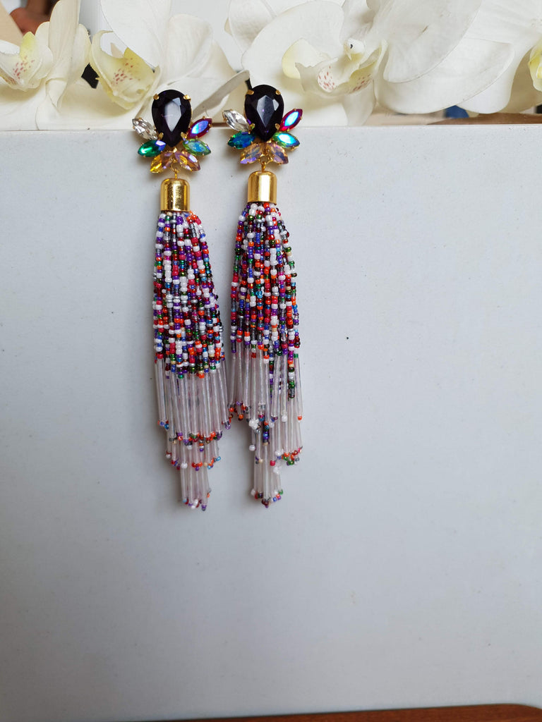 Multi Colour Tassel Bead Earrings