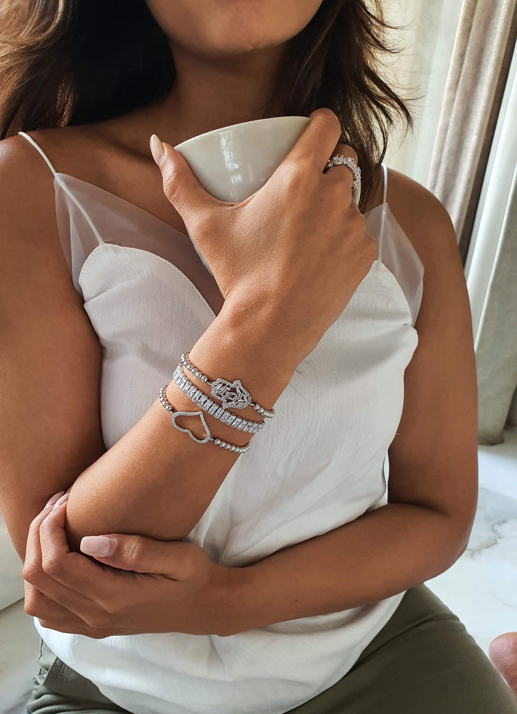 18K White Gold Plated Tennis Slider Bracelet