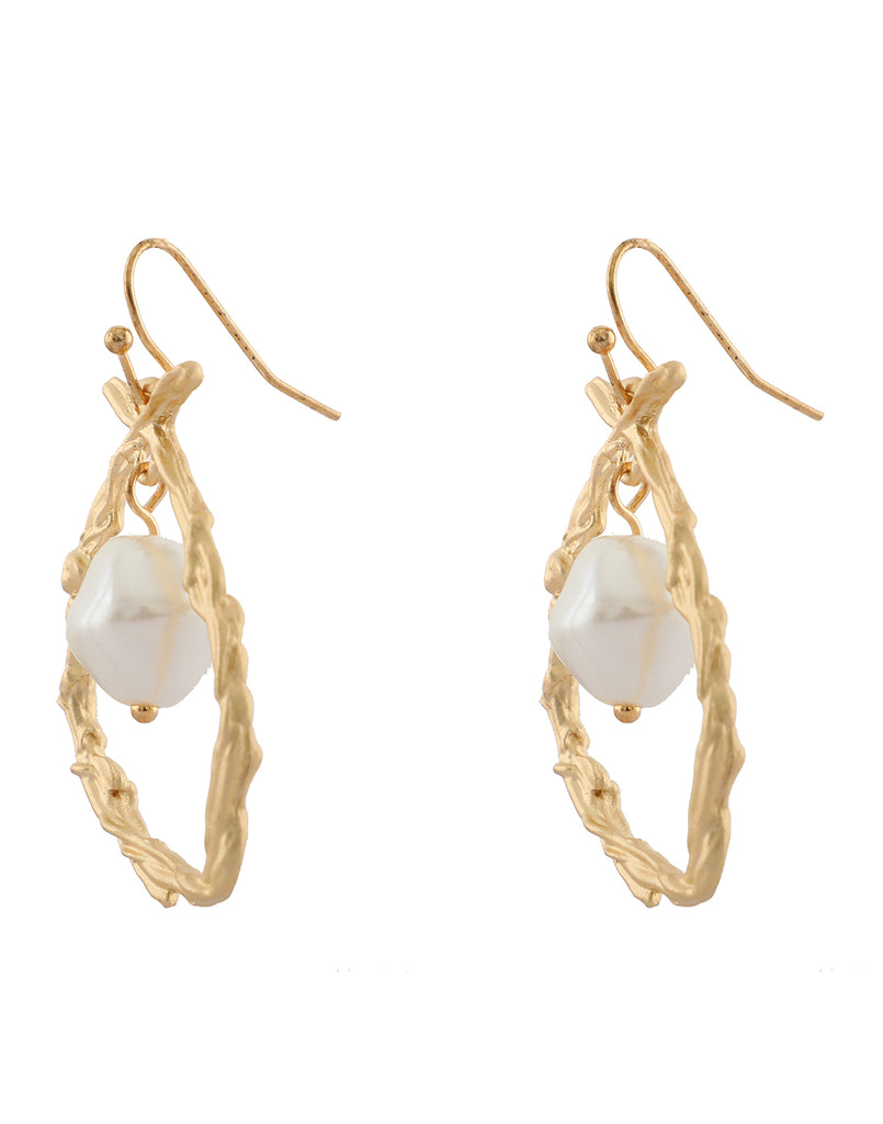Gold Princess Pearl Earrings