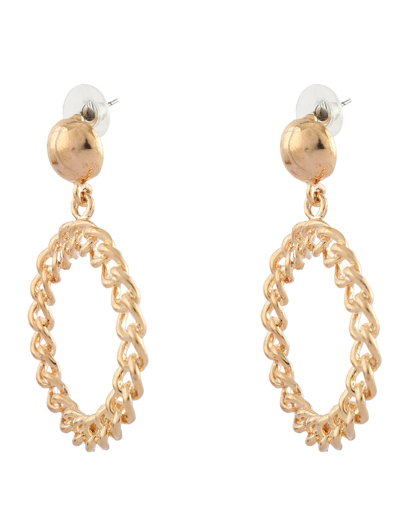 Gold Chain Front Hoop Earrings