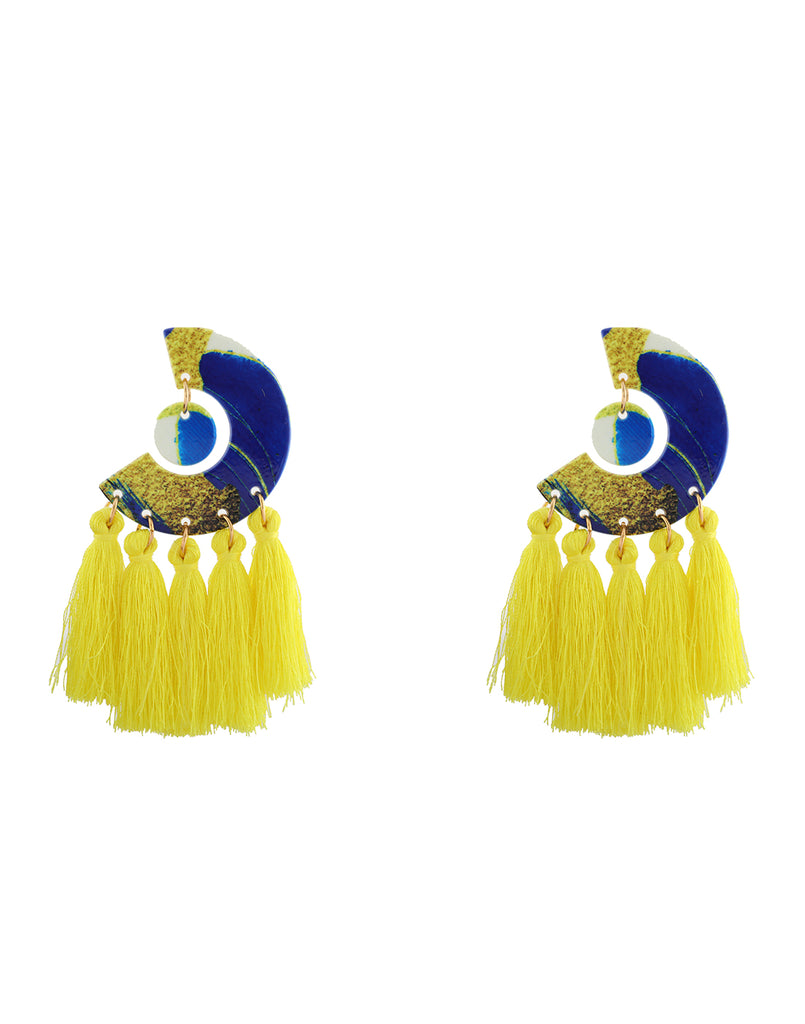 Yellow Bloom Tassel Earrings