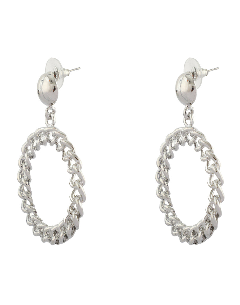Silver Chain Front Hoop Earrings