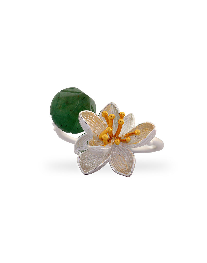Green Quartz Jardine Flower Ring