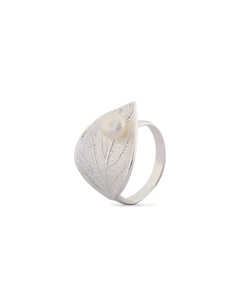 Sterling Silver & 18K White Gold Plated Feuille Ring