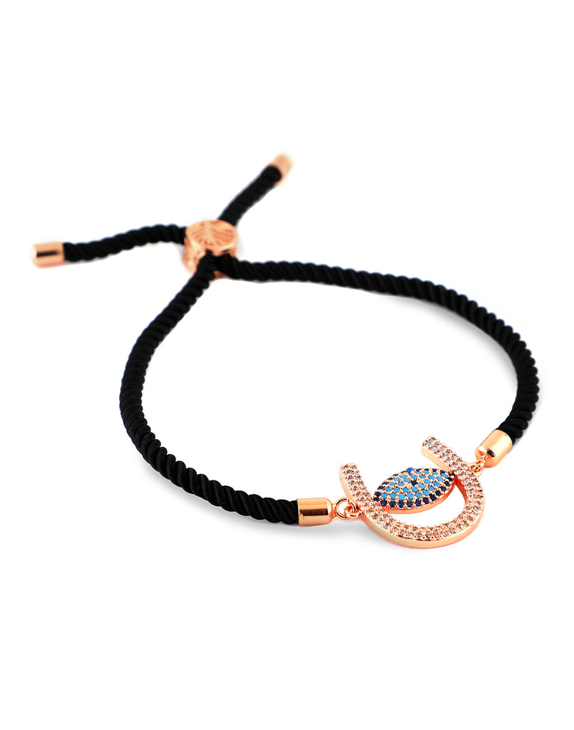 18K Gold Plated Alfia Black Rope Bracelet