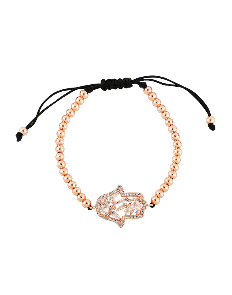 18K Rose Gold Plated Hamsa Baguette Slider Bracelet