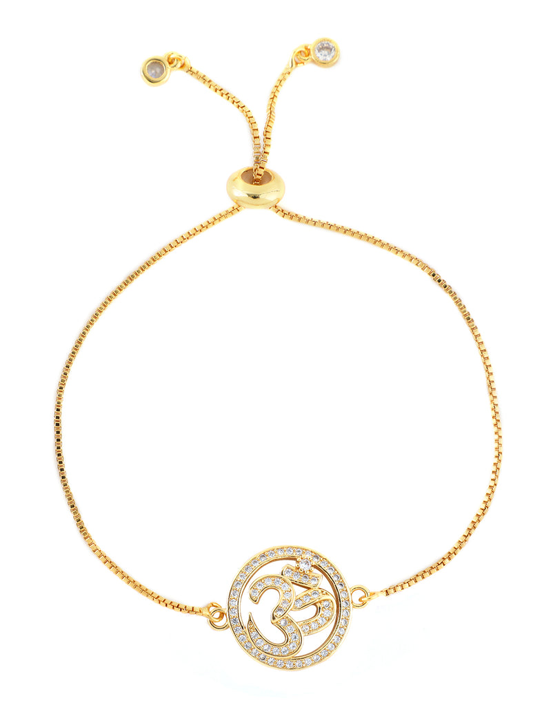 18K Yellow Gold Plated Om Bracelet