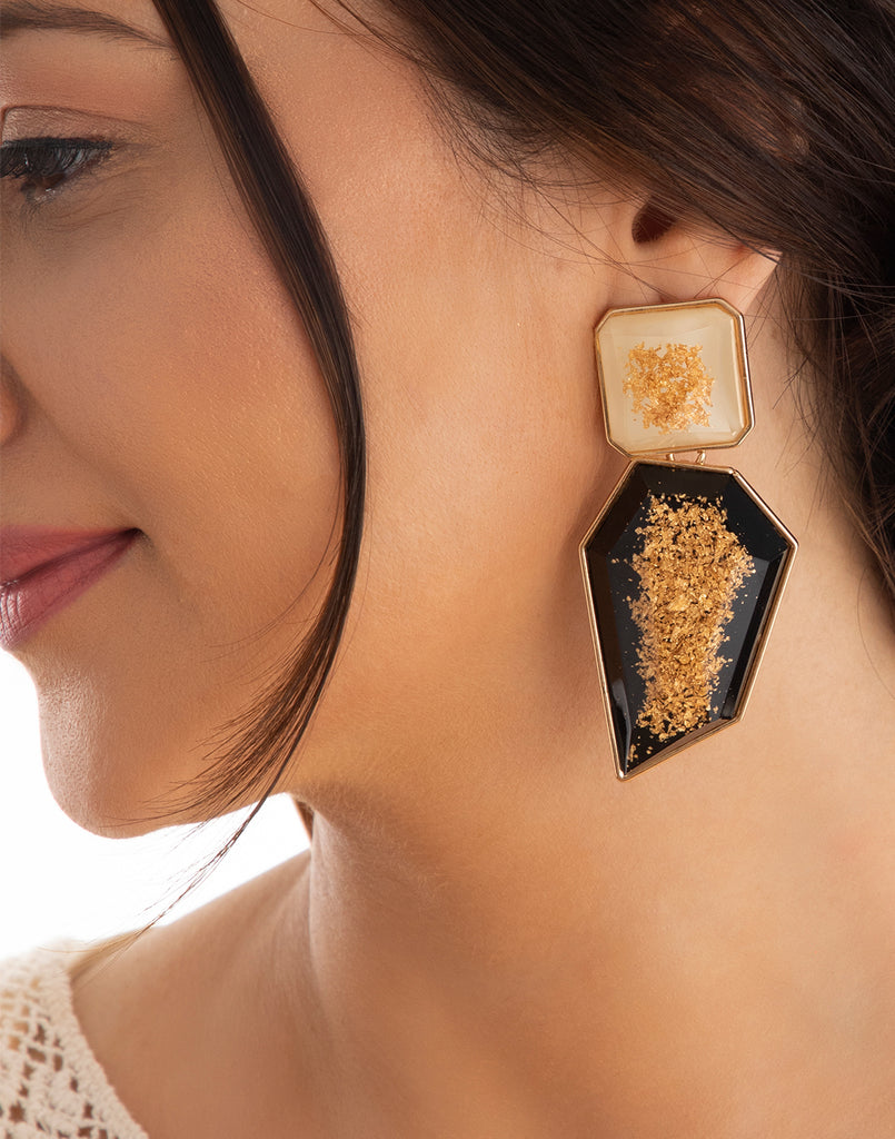 Black & White Golden Flakes Earrings
