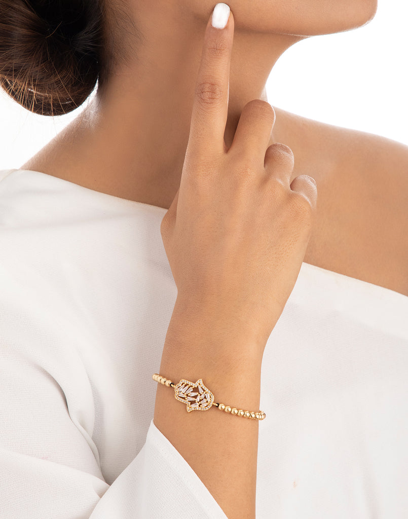 18K Yellow Plated Hamsa Baguette Slider Bracelet