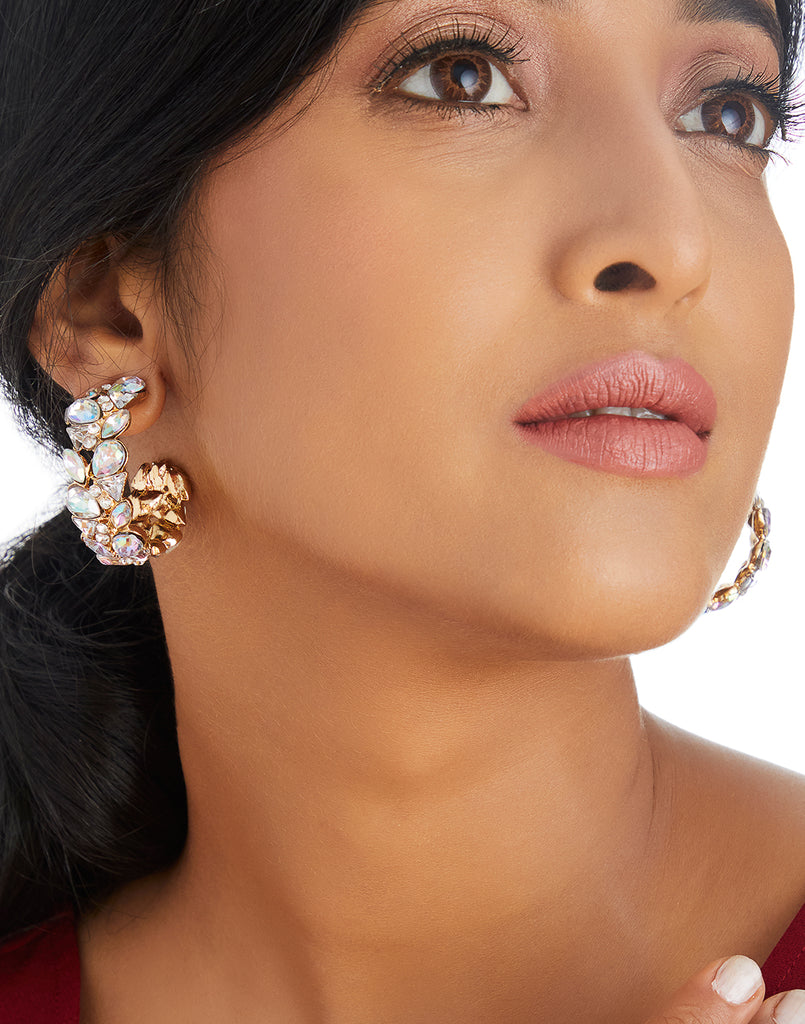Crystal Star Studded Hoops