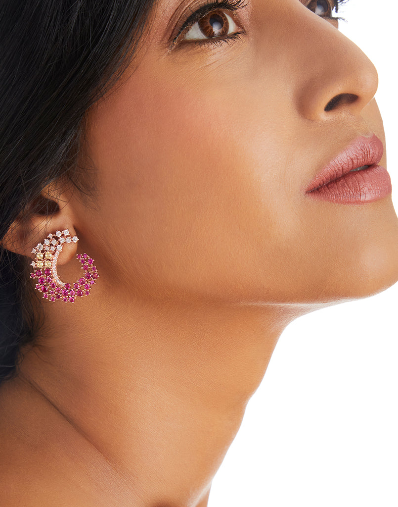 18K Gold Plated Pink Jardin Earrings