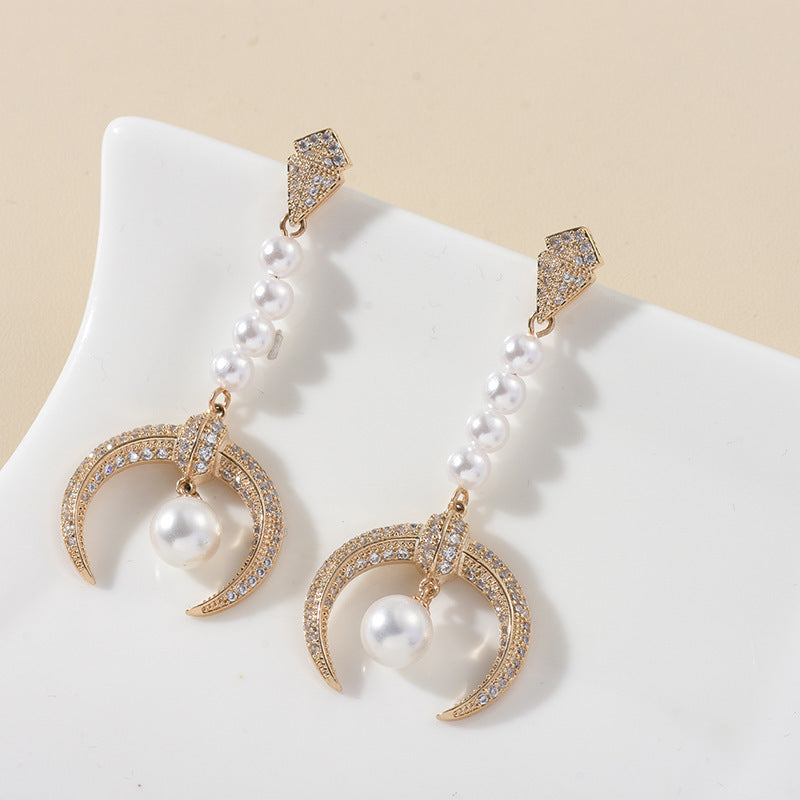 18K Rose Gold Plated Shield Pearl Earrings