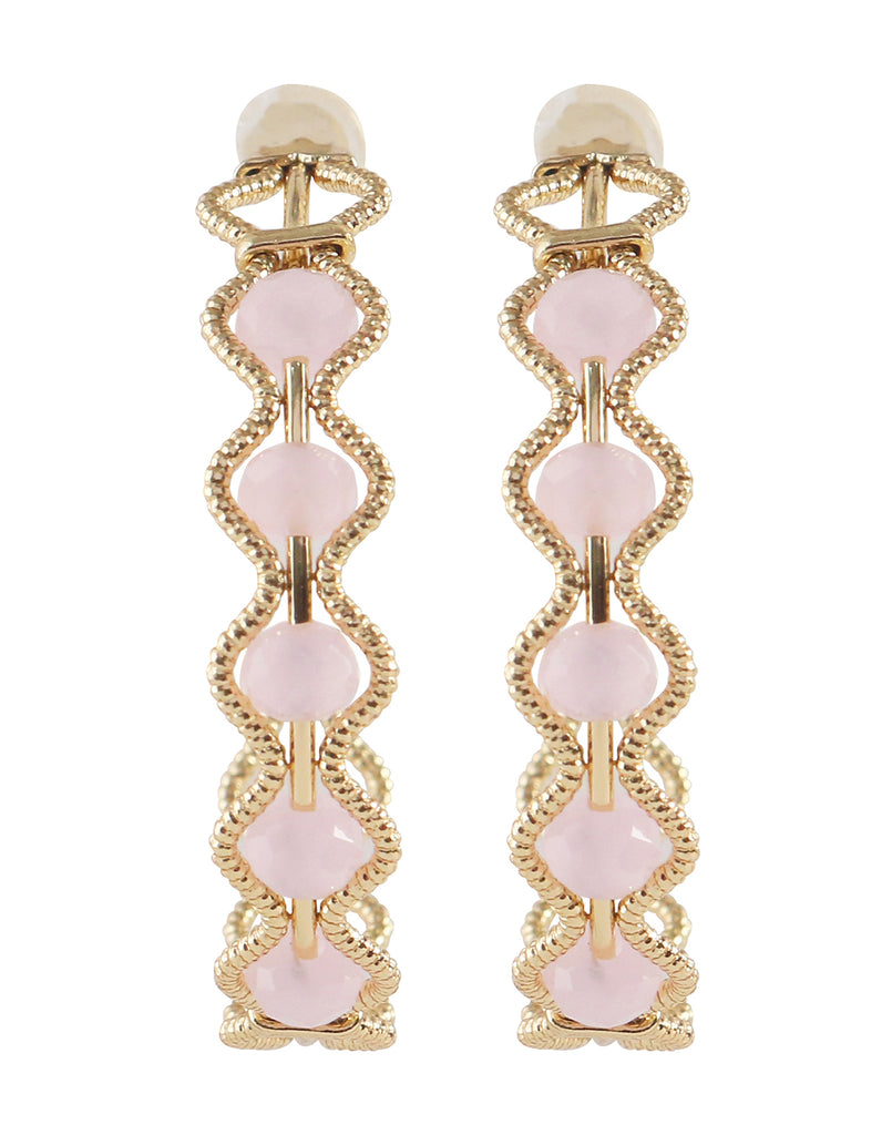 18K Gold Plated Pink Beaded Half Hoop Earrings