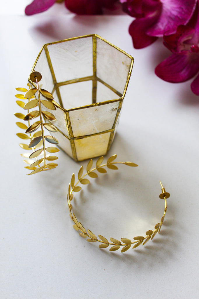 18K Gold Plated Lotus Hoop Earrings